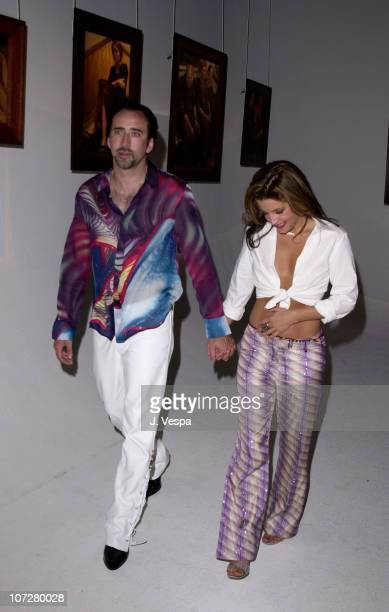 Nicolas Cage Lisa Marie Presley during InStyle Magazine Jason Lee Host Private Art Exhibition Celebrating The Oil Paintings Of Bryten Goss at Quixote...