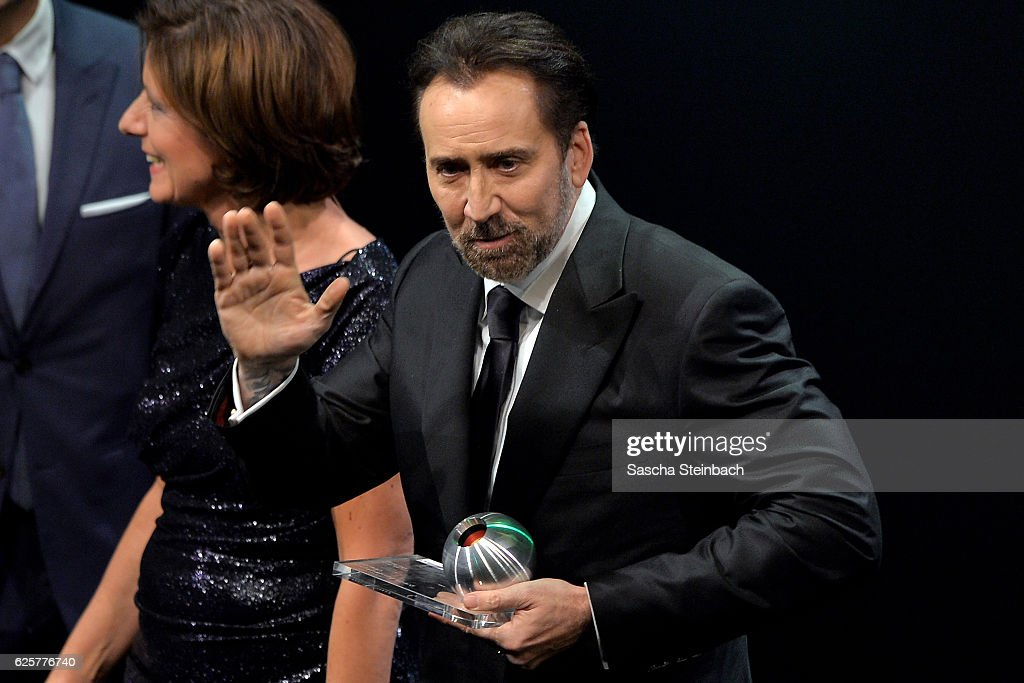 Nicolas Cage reacts after being awarded with the honorary award during the German Sustainability Award 2016 (Deutscher Nachhaltigkeitspreis) at Maritim Hotel on November 25, 2016 in Duesseldorf, Germany.
