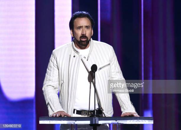 Nicolas Cage speaks onstage during the 2020 Film Independent Spirit Awards on February 08, 2020 in Santa Monica, California.