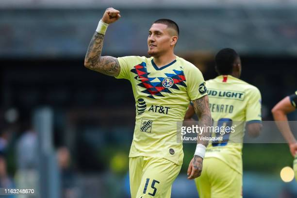 Nicolas Castillo of America celebrates after scoring his team's first goal during the 1st round match between America and Monterrey as part of the...