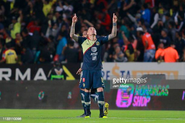 Nicolas Castillo of America celebrates after scoring the first goal of his team during the 9th round match between Morelia and America as part of the...