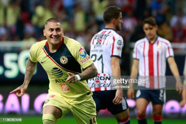Nicolas Castillo of America celebrates after scoring the first goal of his team during the 11th round match between Chivas and America as part of the...