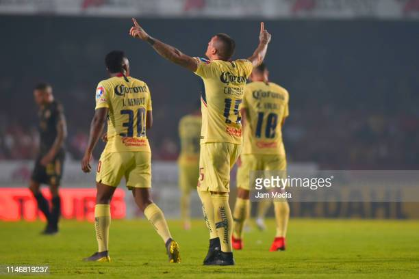 Nicolas Castillo of America celebrates after scoring the second goal of his team during the 17th round match between Veracruz and America as part of...