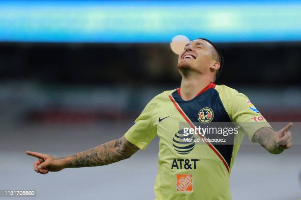 Nicolas Castillo of America celebrates after scoring the third goal of his team during the 8th round match between America and Lobos BUAP as part of...