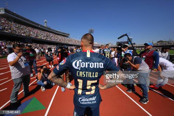 Nicolas Castillo of America enters the field prior the seventh round match between Pumas UNAM and America as part of the Torneo Clausura 2019 Liga MX...