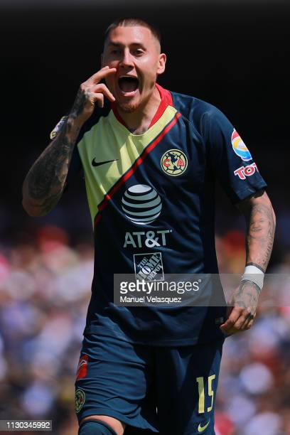Nicolas Castillo of America gestures during the seventh round match between Pumas UNAM and America as part of the Torneo Clausura 2019 Liga MX at...
