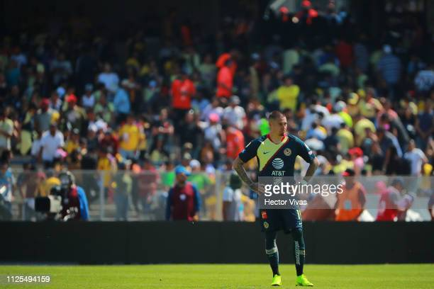 Nicolas Castillo of America reacts after losing the seventh round match between Pumas UNAM and America as part of the Torneo Clausura 2019 Liga MX at...