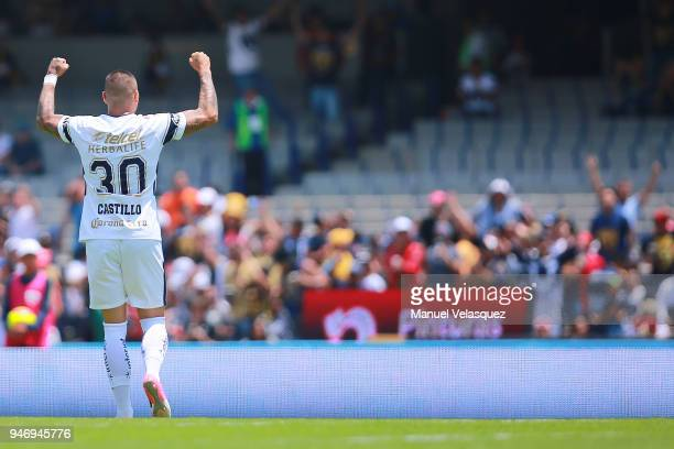 Nicolas Castillo of Pumas celebrates a scored goal during the 15th round match between Pumas UNAM and Puebla as part of the Torneo Clausura 2018 Liga...