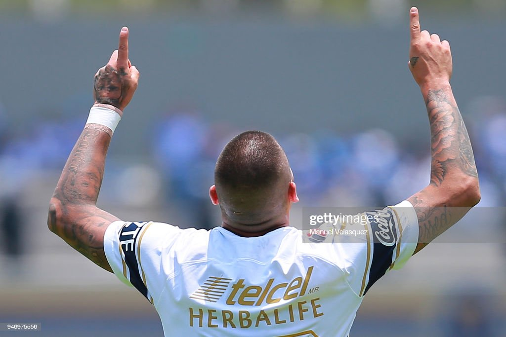 Nicolas Castillo of Pumas celebrates after scoring a goal during the 15th round match between Pumas UNAM and Puebla as part of the Torneo Clausura 2018 Liga MX at Olimpico Universitario Stadium on April 15, 2018 in Mexico City, Mexico.