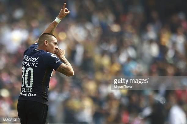 Nicol‡as Castillo of Pumas celebrates after scoring the first goal of his team during the 4th round match between Pumas UNAM and Necaxa as part of...