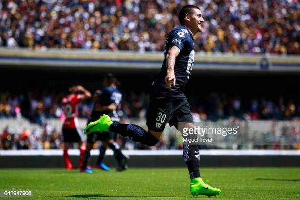 Nicolas Castillo of Pumas celebrates after scoring the first goal of his team during the 7th round match between Pumas UNAM and Tijuana as part of...