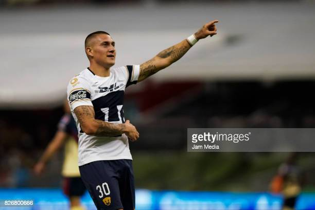 Nicolas Castillo of Pumas celebrates after scoring the first goal of his team during the 3rd round match between America and Pumas UNAM as part of...