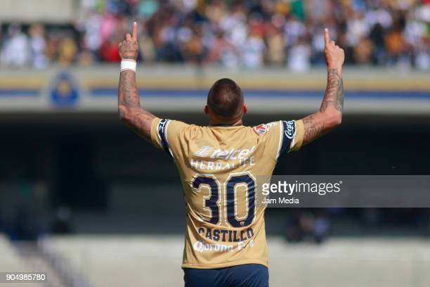 Nicolas Castillo of Pumas celebrates after scoring the first goal of his team during the second round match between Pumas UNAM and Atlas as part of...