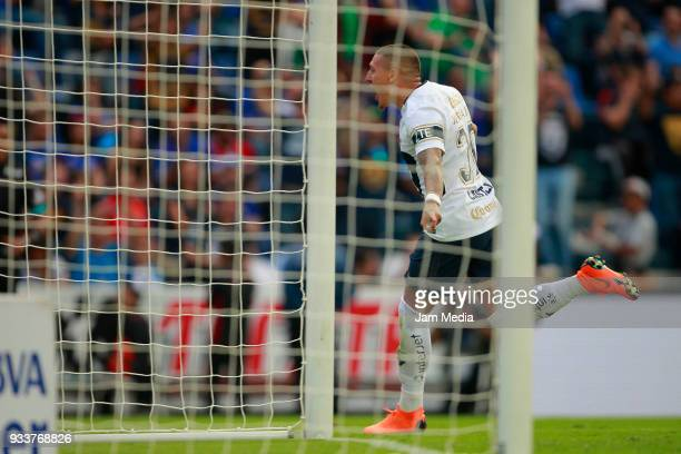 Nicolas Castillo of Pumas celebrates after scoring the first goal of his team during the 12th round match between Cruz Azul and Pumas UNAM as part of...