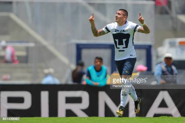 Nicolas Castillo of Pumas celebrates after scoring the second goal of his team during the fourth round match between Pumas UNAM and Lobos BUAP as...