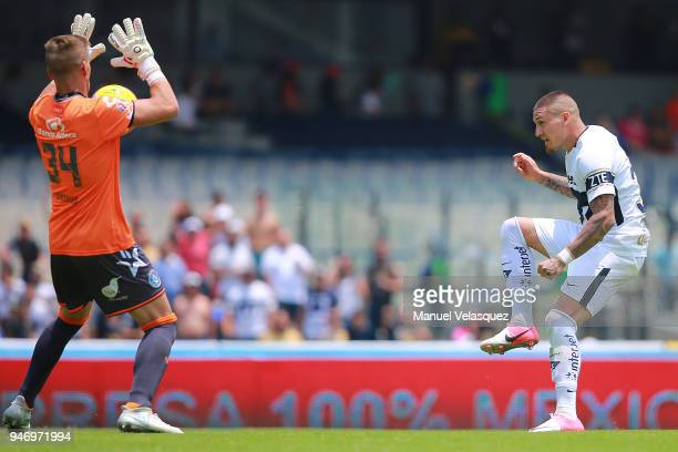Nicolas Castillo of Pumas kicks the ball over Nicolas Vikonis goalkeeper of Puebla to score the second goal of his team during the 15th round match...