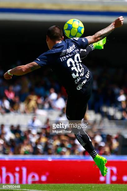Nicolas Castillo of Pumas kicks the ball to score during the 7th round match between Pumas UNAM and Tijuana as part of the Torneo Clausura 2017 Liga...