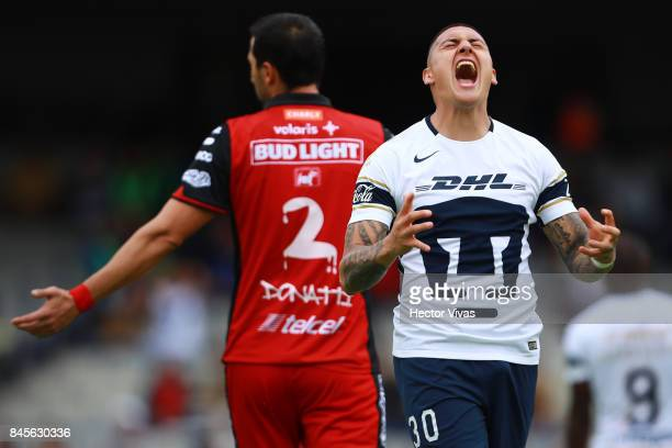 Nicolas Castillo of Pumas reacts during the 8th round match between Pumas UNAM and Tijuana as part of the Torneo Apertura 2017 Liga MX at Olimpico...