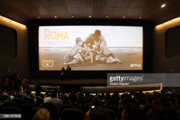 Nicolas Celis producer and Gabriela Rodriguez speak during the red carpet and screening of Alfonso Cuarón and Netflix film 'Roma' at Cineteca...