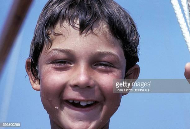 Nicolas Charrier le fils de Brigitte Bardot à La Madrague en août 1967 à SaintTropez France