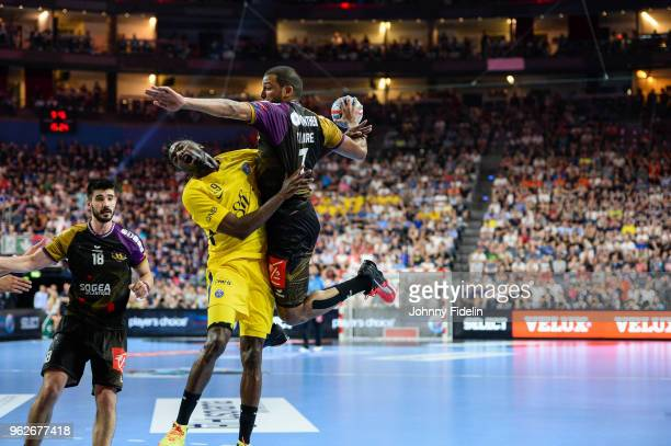 Nicolas Claire of Nantes during the Final Four EHF Champions League match between Nantes and Paris Saint Germain at Lanxess Arena on May 26 2018 in...