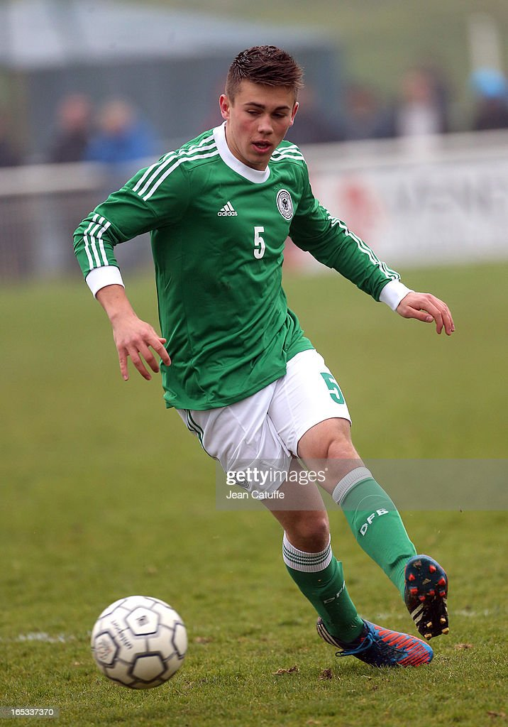 Nicolas Clasen of Germany in action during the Tournament of Montaigu qualifier match between U16 Germany and U16 England at the Stade Saint Andre D'Ornay on March 30, 2013 in La Roche-sur-Yon, France.