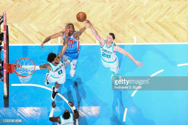 Nicolas Claxton of the Brooklyn Nets and Gordon Hayward of the Charlotte Hornets fight for the rebound during the game on April 1, 2021 at Barclays...