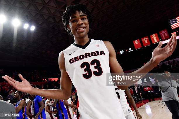Nicolas Claxton of the Georgia Bulldogs celebrates following a victory over the Florida Gators at Stegeman Coliseum on January 30 2018 in Athens...