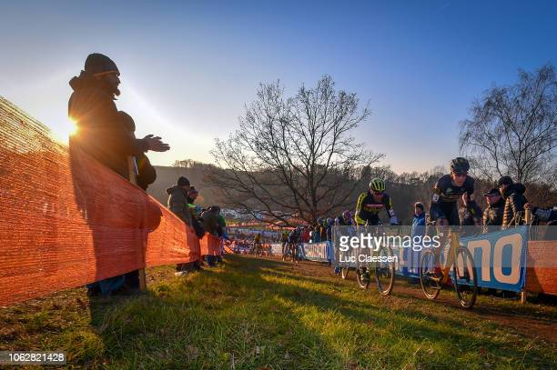 Nicolas Cleppe of Belgium and Team Telenet Fidea Lions / Marcel Wildhaber of Switzerland and Team ScottSram MTB Racing / Public / Landscape / during...