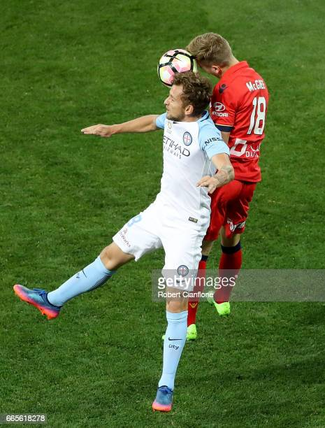 Nicolas Colazo of Melbourne City and Riley McGree of United compete for the ball during the round 26 ALeague match between Melbourne City FC and...