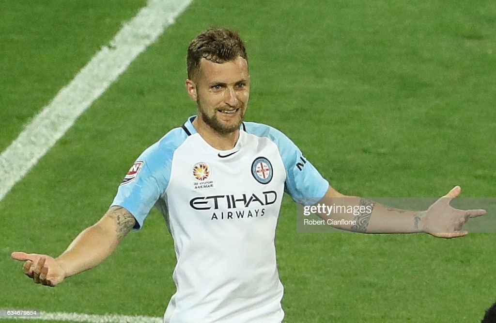 Nicolas Colazo of Melbourne City celebrates after scoring a penalty during the round 19 A-League match between Melbourne City FC and the Brisbane Roar at AAMI Park on February 11, 2017 in Melbourne, Australia.