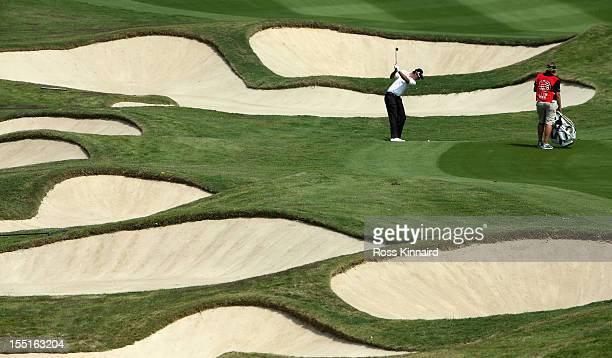 Nicolas Colsaerts of Belgium on the 10th hole during the second round of the WGC HSBC Champions at the Mission Hills Resort on November 2 2012 in...