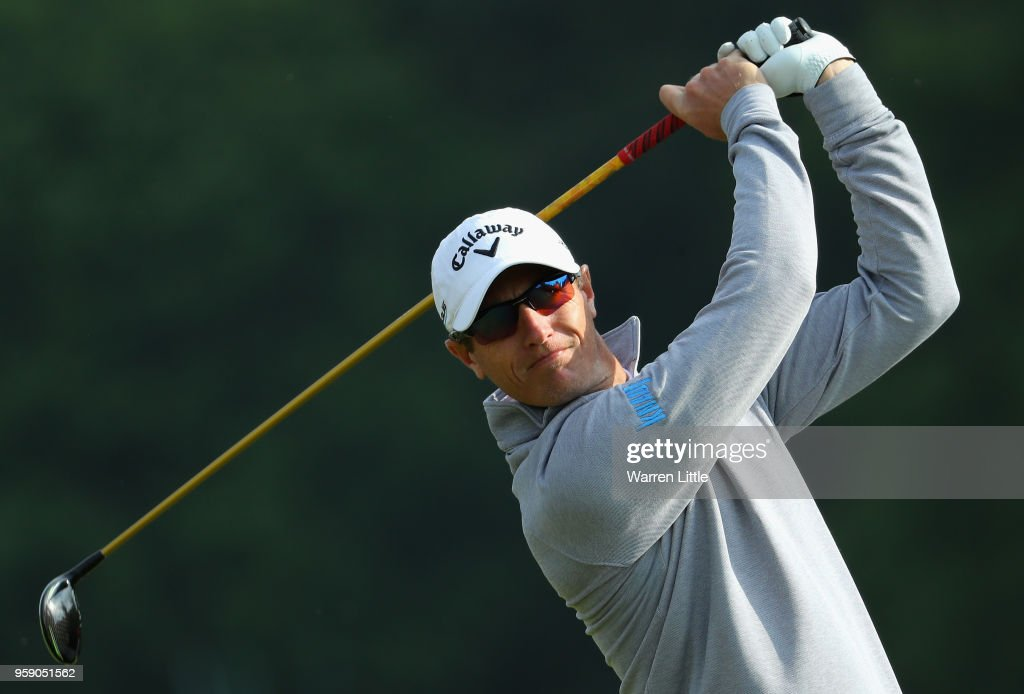 Nicolas Colsaerts of Belgium plays a practice round ahead of the Belgian Knockout at the Rinkven International GC on May 16, 2018 in Antwerpen, Belgium.