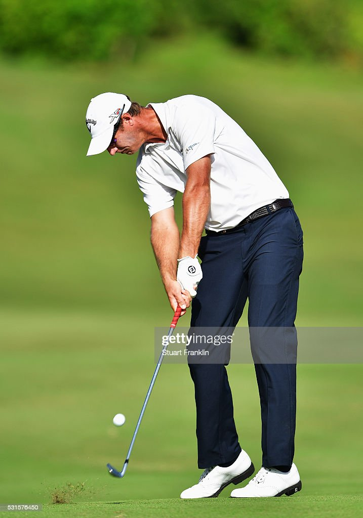 Nicolas Colsaerts of Belgium plays a shot during the final round of AfrAsia Bank Mauritius Open at Four Seasons Golf Club Mauritius at Anahita on May 15, 2016 in Poste de Flacq, Mauritius.