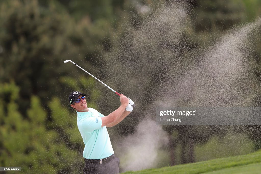 Nicolas Colsaerts of Belgium plays a shot during the first round of the 2017 Volvo China open at Topwin Golf and Country Club on April 27, 2017 in Beijing, China.
