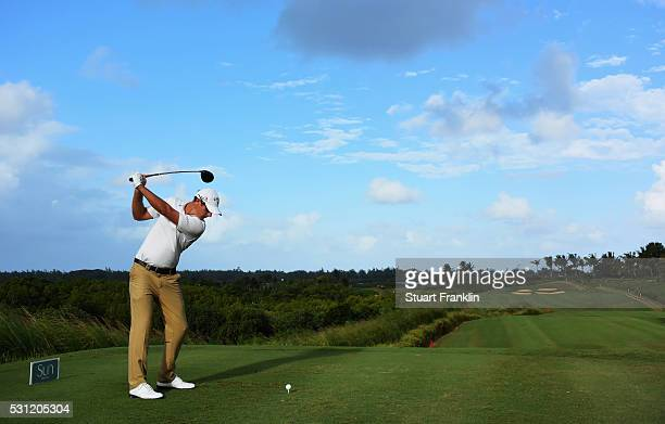 Nicolas Colsaerts of Belgium plays a shot during the second round of AfrAsia Bank Mauritius Open at Four Seasons Golf Club Mauritius at Anahita on...