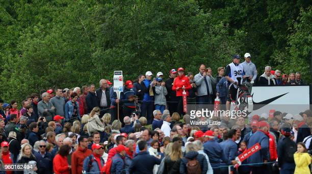 Nicolas Colsaerts of Belgium prepares to tee off on the fifth hole during the knockout stage on day three of the Belgian Knockout at at the Rinkven...