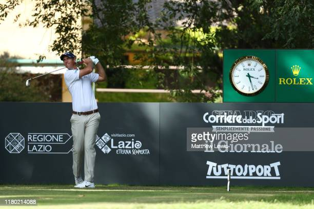 Nicolas Colsaerts of Belgium tees off on the 7th hole during Day One of the Italian Open at Olgiata Golf Club on October 10 2019 in Rome Italy