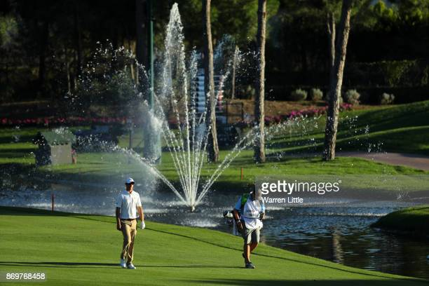 Nicolas Colsaerts of Belgium walks down the 18th hole during the second round of the Turkish Airlines Open at the Regnum Carya Golf Spa Resort on...