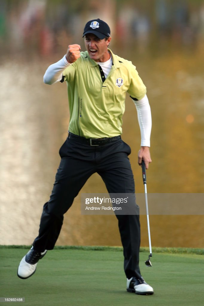 Nicolas Colsaerts of Europe celebrates a birdie putt on the 17th green during the Afternoon Four-Ball Matches for The 39th Ryder Cup at Medinah Country Club on September 28, 2012 in Medinah, Illinois.