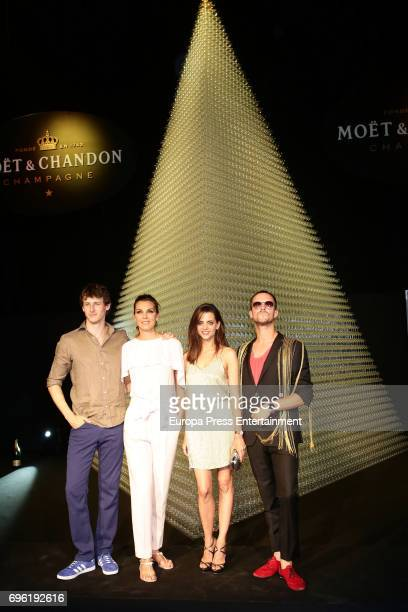Nicolas Coronado Mar Flores Macarena Gomez and Aldo Comas attend the Moet Chandon Record Guinness Party at La Casa Encendida on June 14 2017 in...