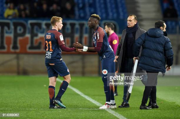 Nicolas Cozza and Junior Sambia of Montpellier during the Ligue 1 match between Montpellier and Angers at Stade de la Mosson on February 3 2018 in...