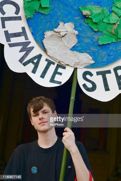 Nicolas Crosbie a student at Lower Merion High School participates in a second Climate Strike event of the day in Philadelphia PA on March 15 2019...