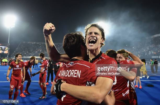 Nicolas De Kerpel of Belgium celebrates during the FIH Men's Hockey World Cup Final between Belgium and the Netherlands at Kalinga Stadium on...