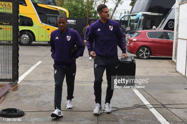 Nicolas De la Cruz and Bruno Zuculini of River Plate arrive to the stadium before a match between Palestino and River Plate as part of group A of...