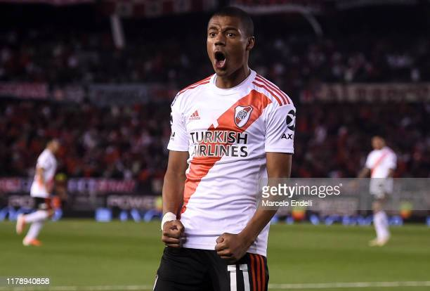 Nicolas De La Cruz of River Plate celebrates after scoring the first goal first of his team during a match between River Plate and Colon as part of...