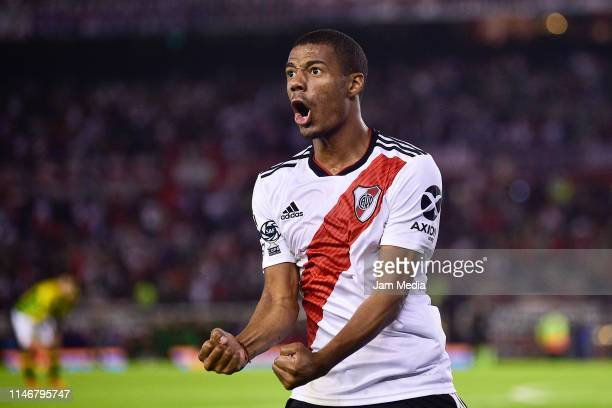 Nicolas De La Cruz of River Plate celebrates after scoring the second goal of his team during round of sixteen second leg match between River Plate...
