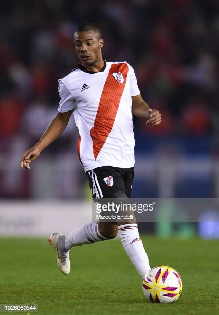 Nicolas De La Cruz of River Plate drives the ball during a match between River Plate and Argentinos Juniors as part of Superliga Argentina 2018/19 at...