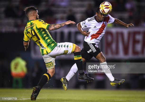Nicolas De La Cruz of River Plate heads the ball to score the fifth goal of his team during round of sixteen second leg match between River Plate and...
