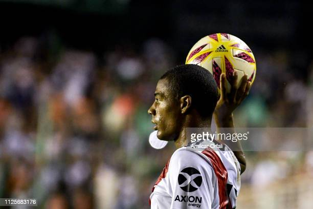 Nicolas De la Cruz of River Plate in action during a match between Banfield and River Plate as part of Superliga 2018/19 at Florencio Sola Stadium on...